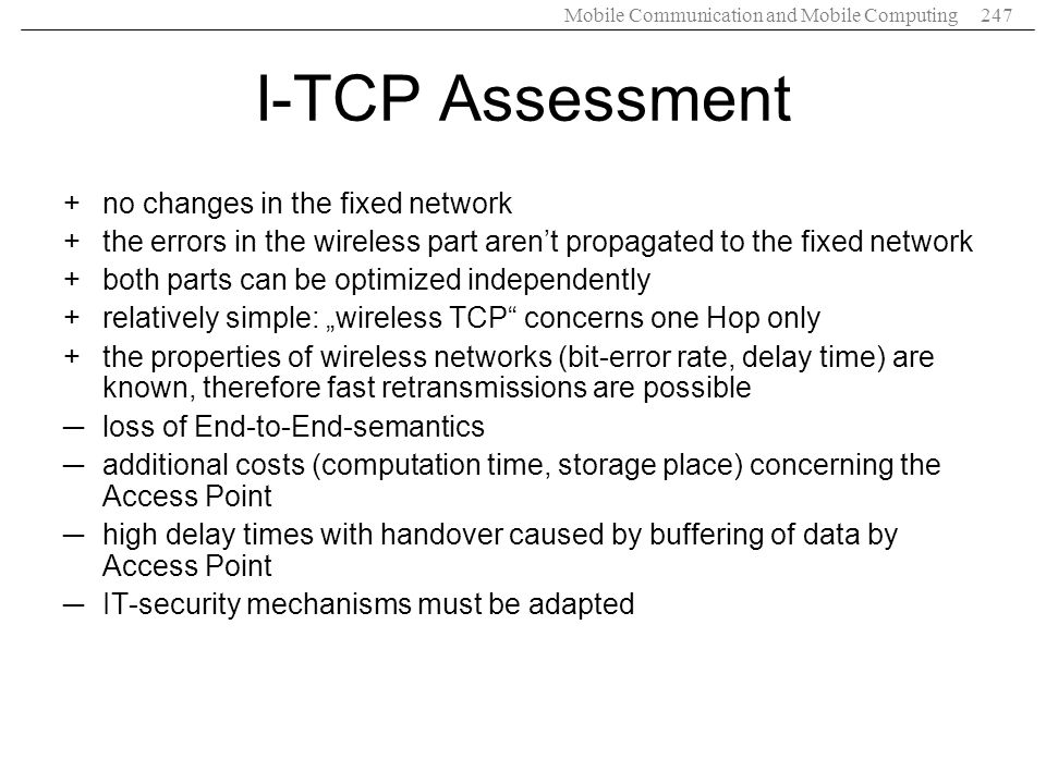 I-TCP Assessment no changes in the fixed network