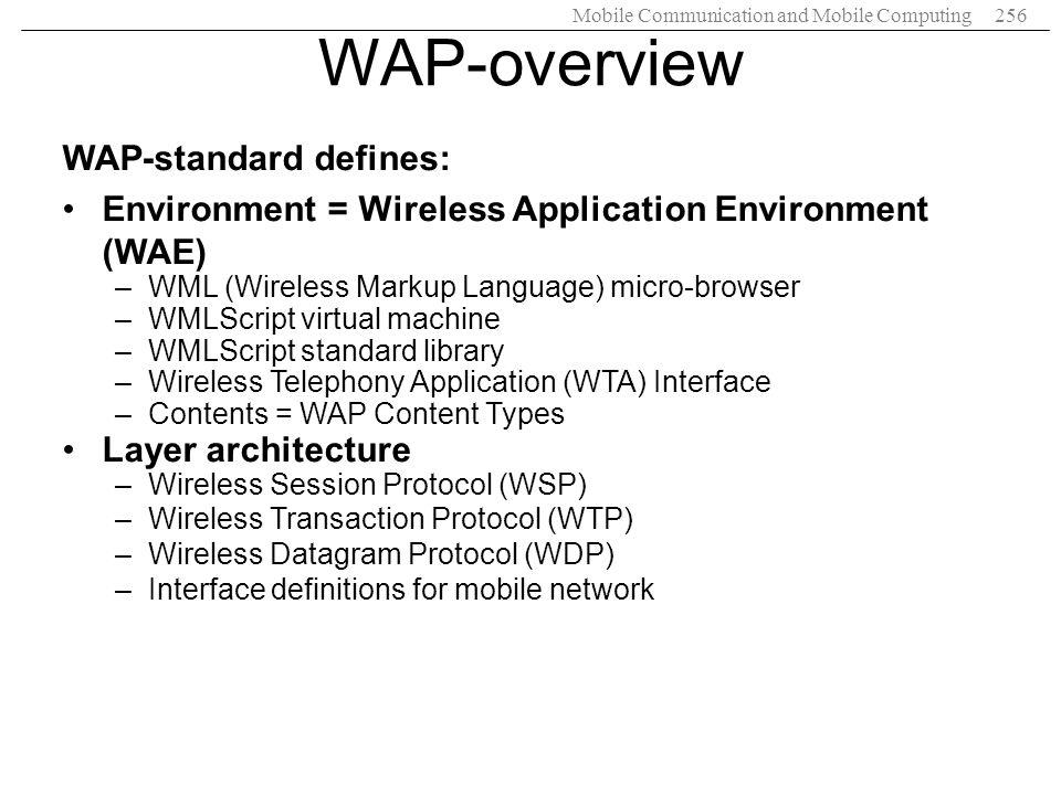 WAP-overview WAP-standard defines: