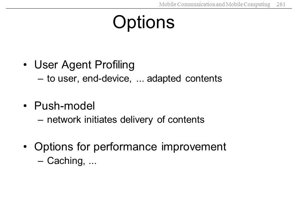 Options User Agent Profiling Push-model