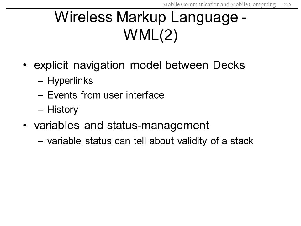Wireless Markup Language - WML(2)