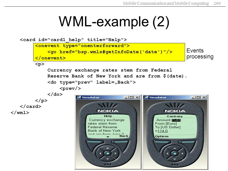 WML-example (2) Events processing