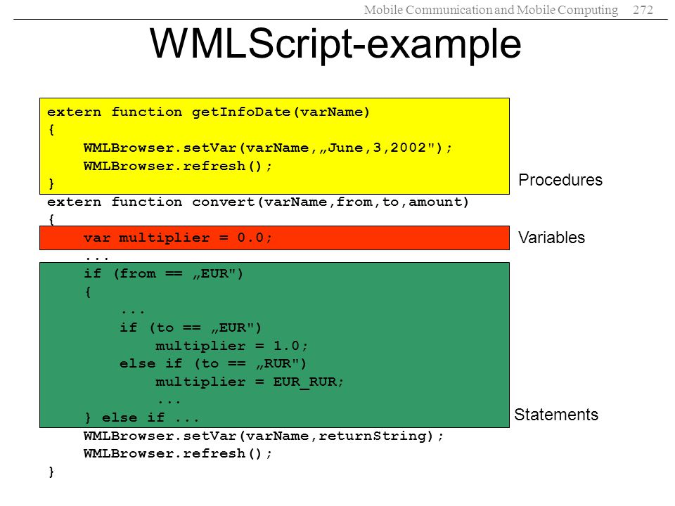 WMLScript-example Procedures Variables Statements