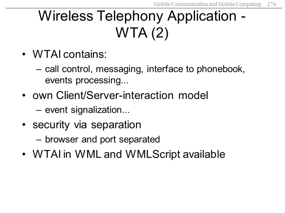 Wireless Telephony Application - WTA (2)