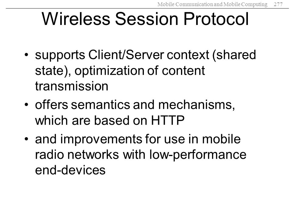 Wireless Session Protocol