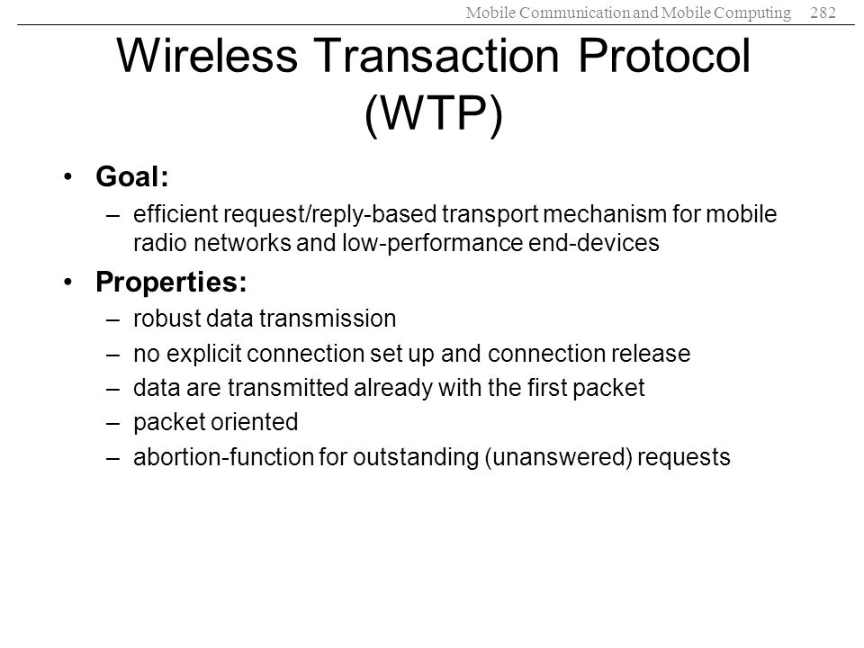 Wireless Transaction Protocol (WTP)