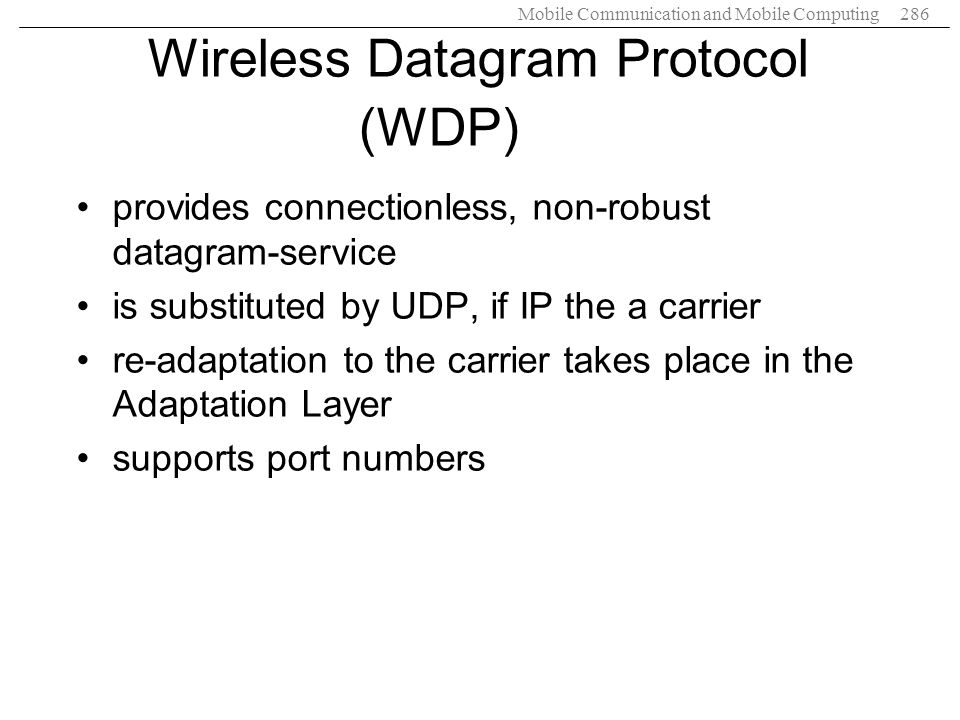 Wireless Datagram Protocol (WDP)