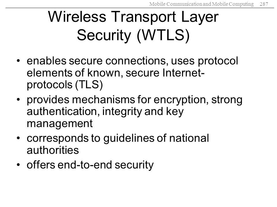 Wireless Transport Layer Security (WTLS)