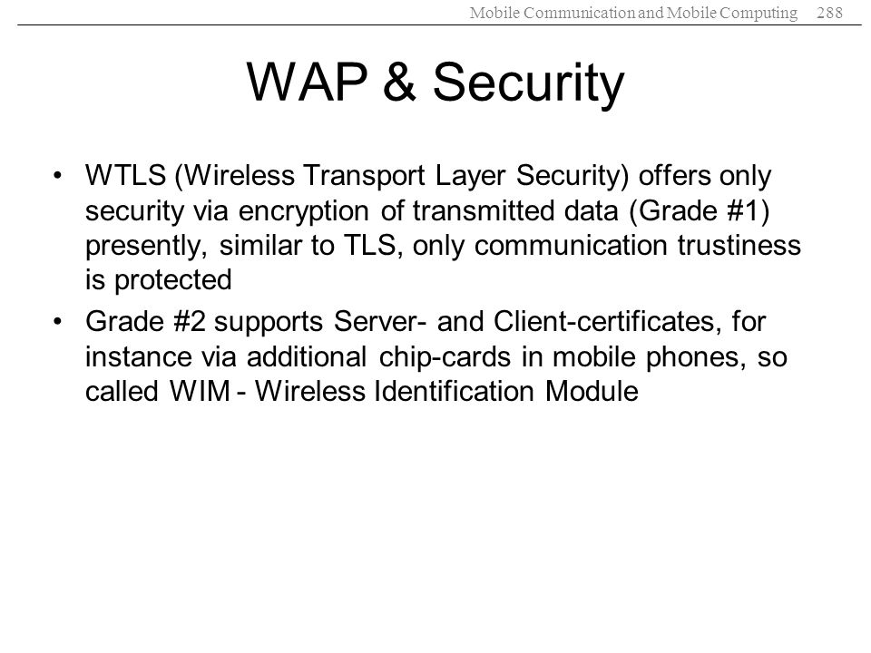 WAP & Security