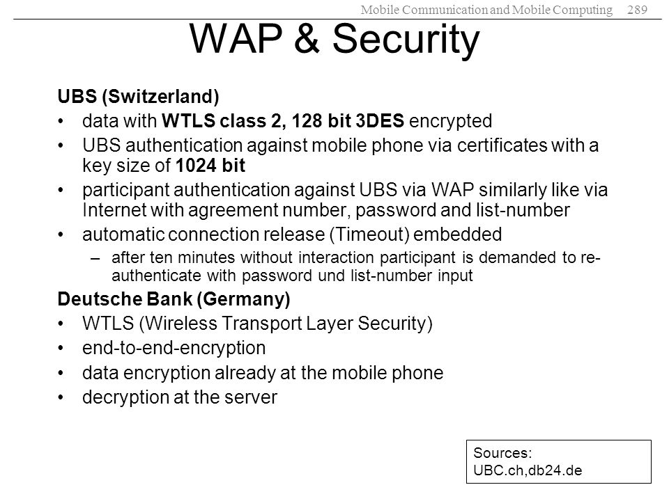 WAP & Security UBS (Switzerland)