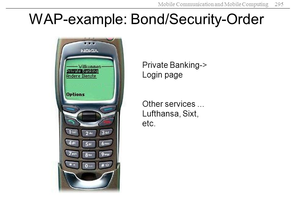 WAP-example: Bond/Security-Order