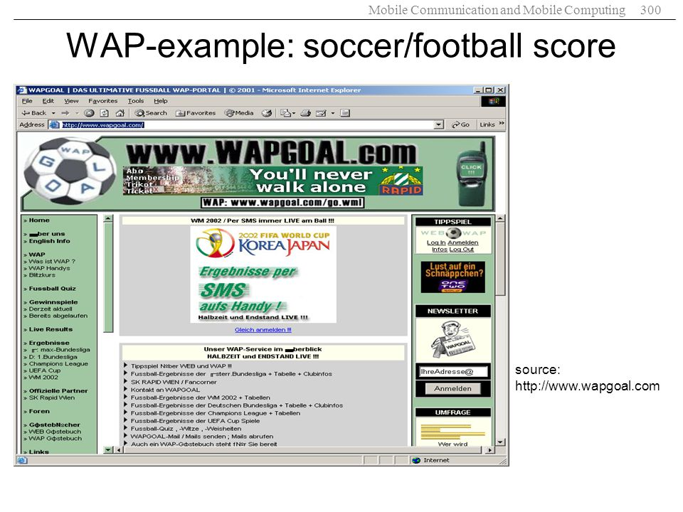 WAP-example: soccer/football score