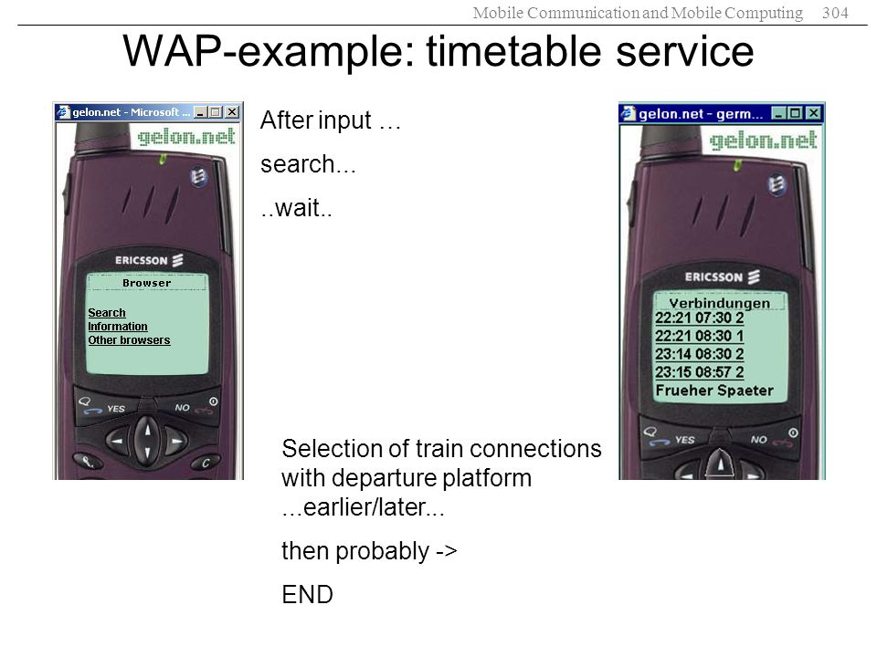 WAP-example: timetable service
