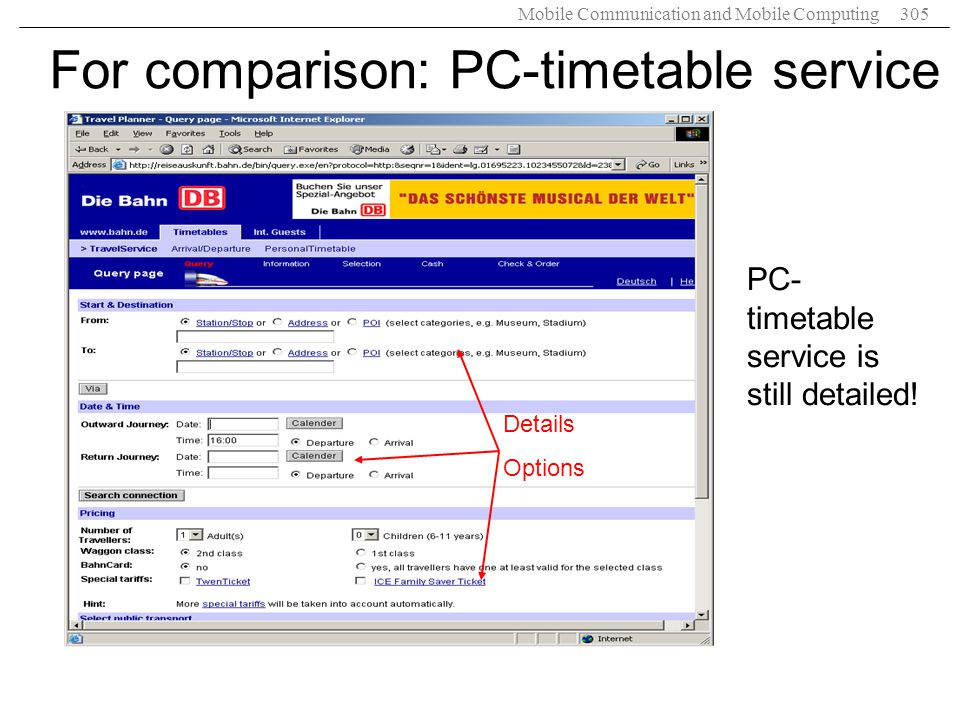 For comparison: PC-timetable service