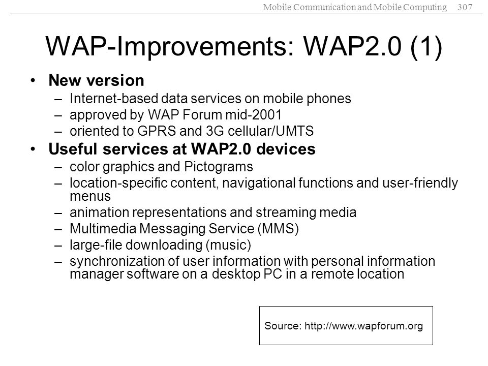 WAP-Improvements: WAP2.0 (1)
