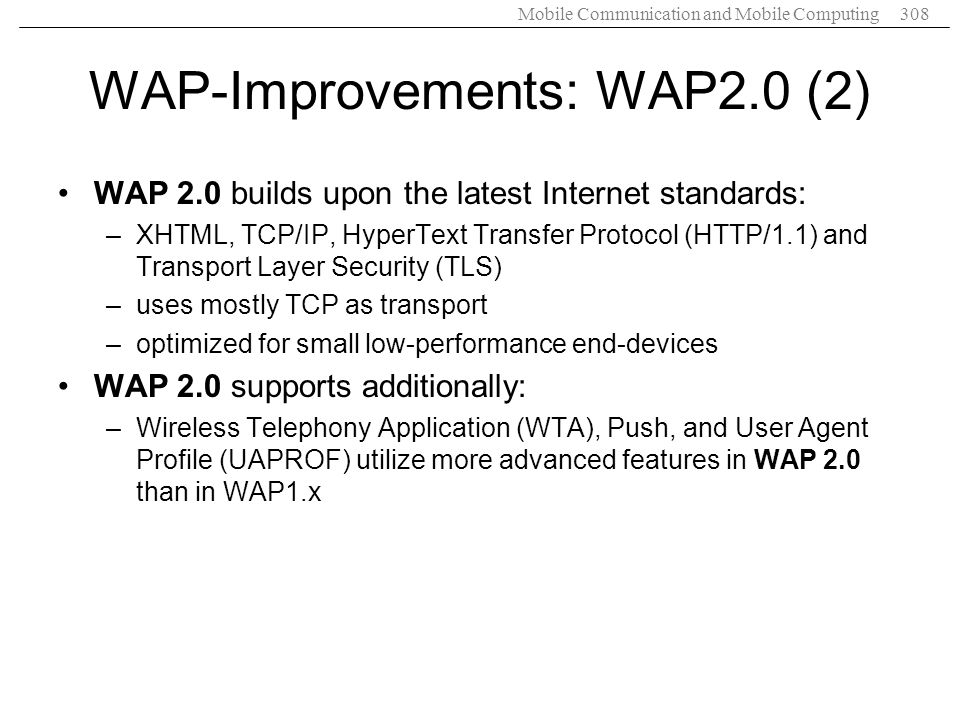 WAP-Improvements: WAP2.0 (2)