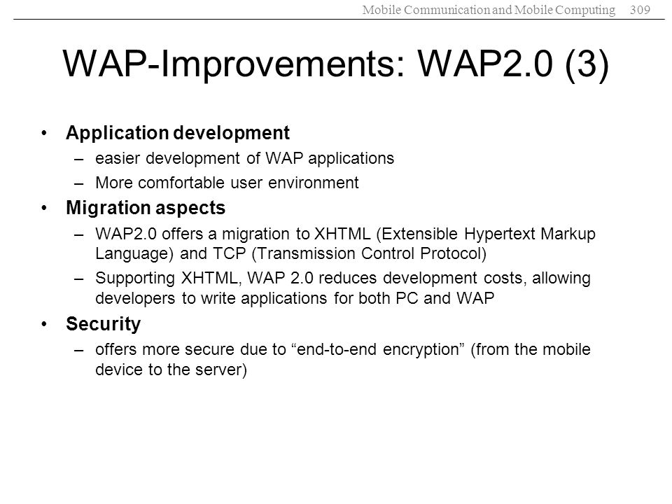 WAP-Improvements: WAP2.0 (3)