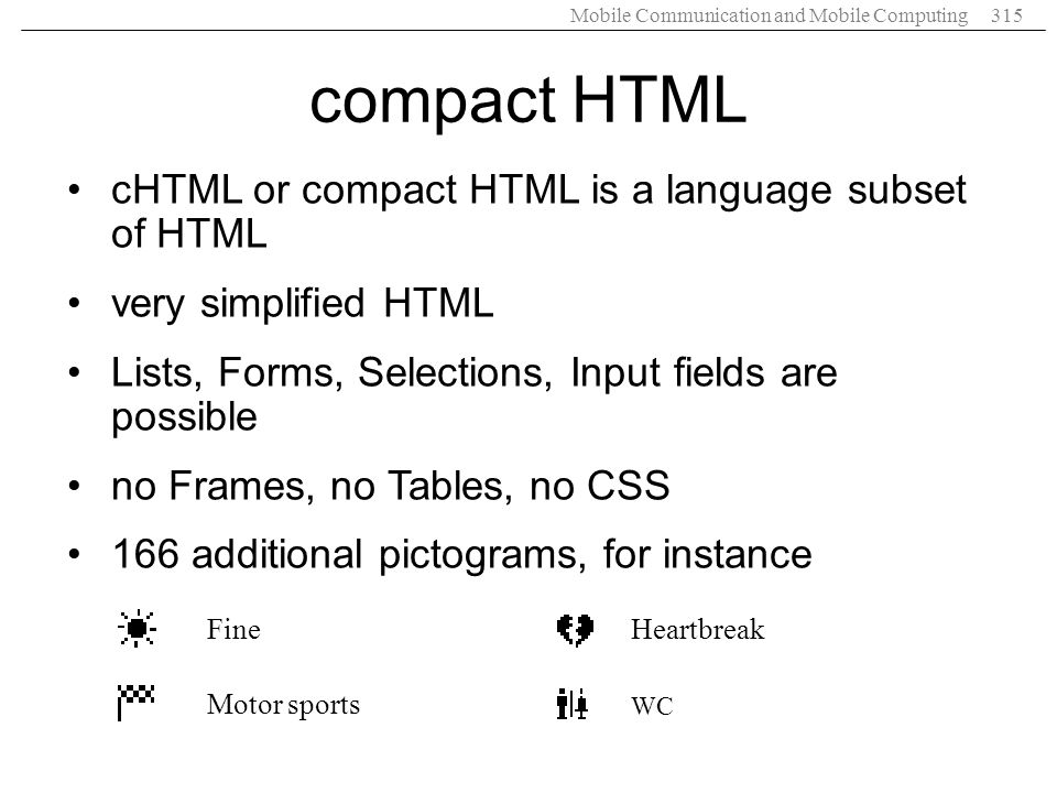 compact HTML cHTML or compact HTML is a language subset of HTML