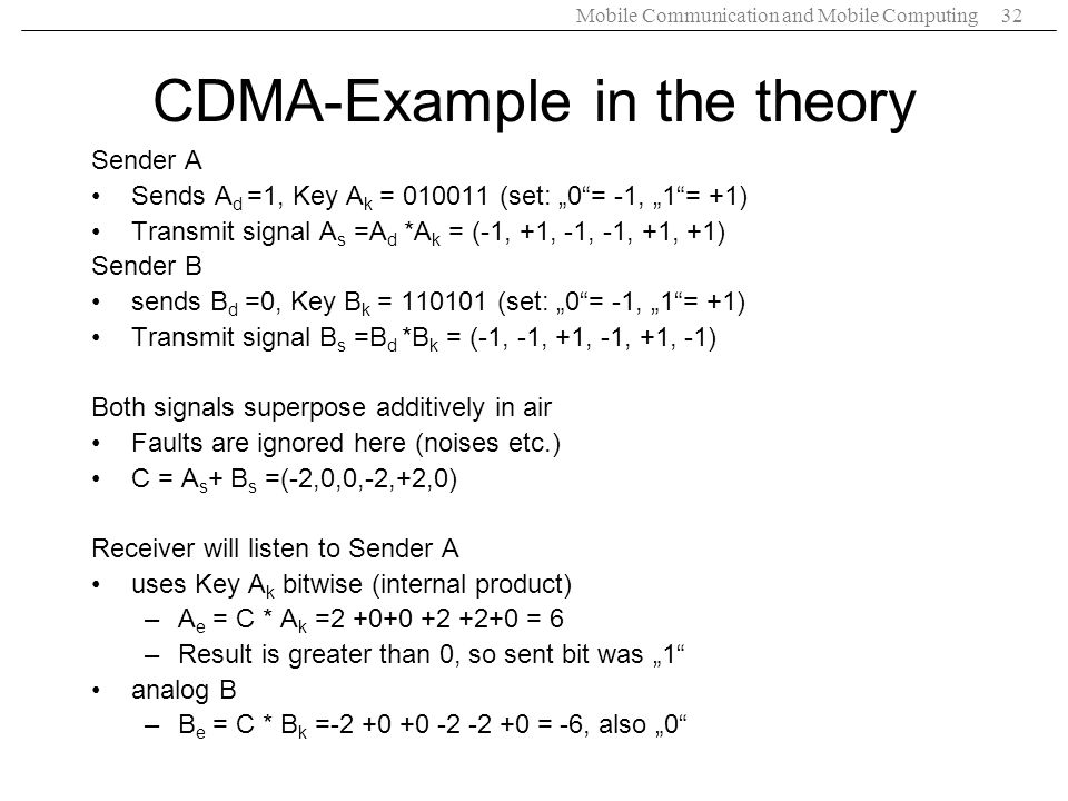 CDMA-Example in the theory