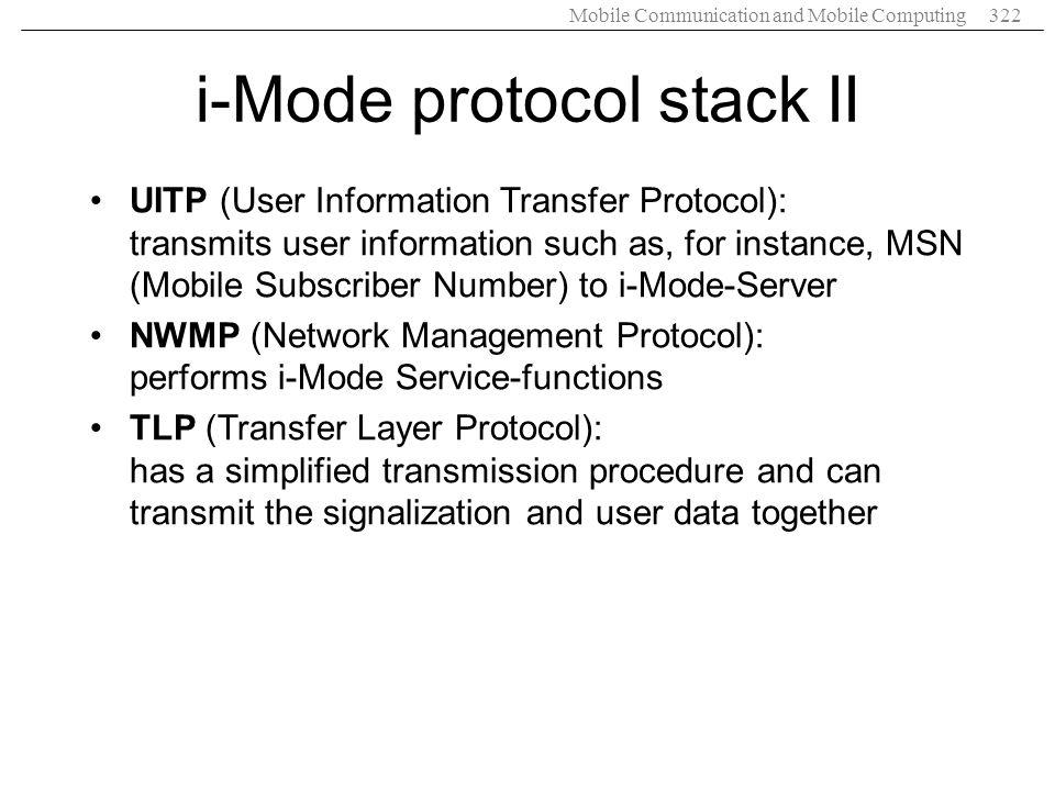 i-Mode protocol stack II