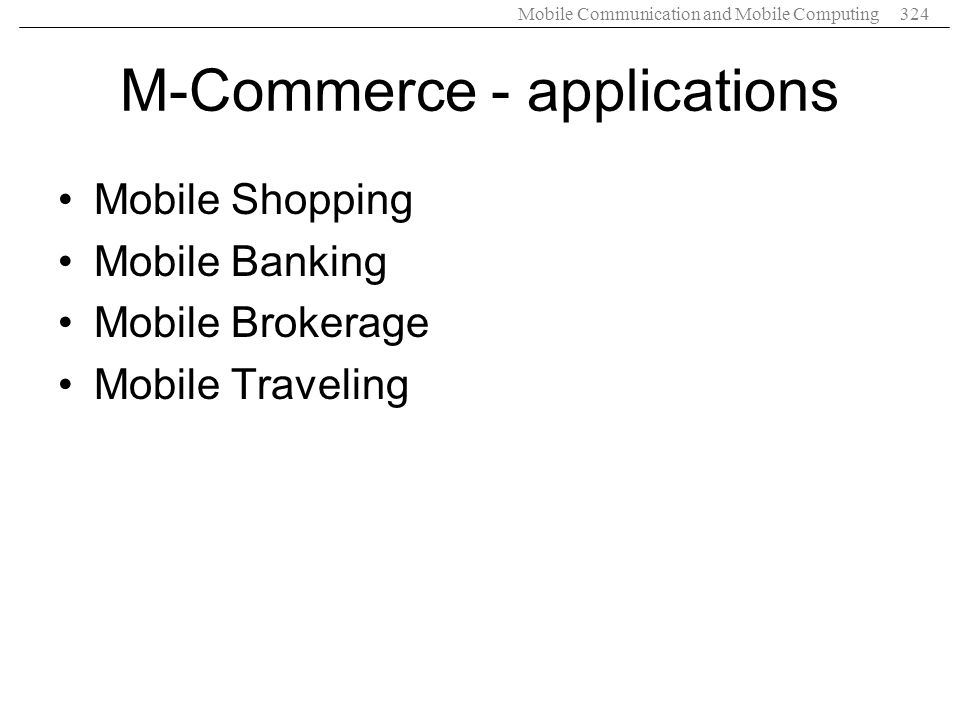 M-Commerce - applications