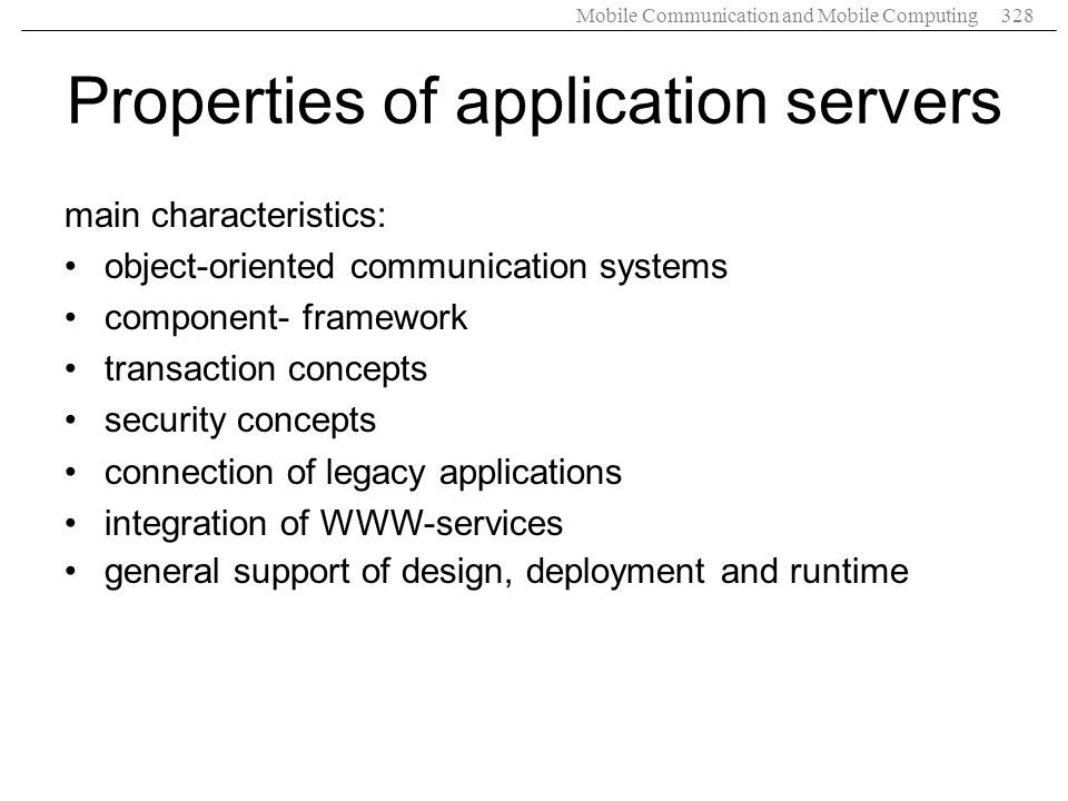 Properties of application servers