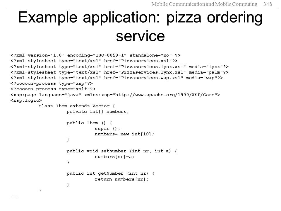 Example application: pizza ordering service