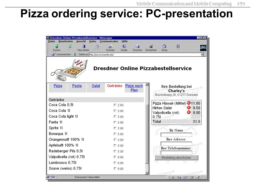 Pizza ordering service: PC-presentation