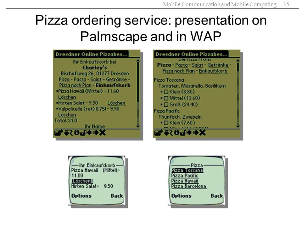 Pizza ordering service: presentation on Palmscape and in WAP