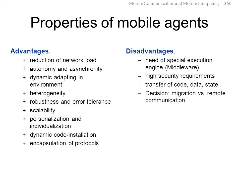 Properties of mobile agents