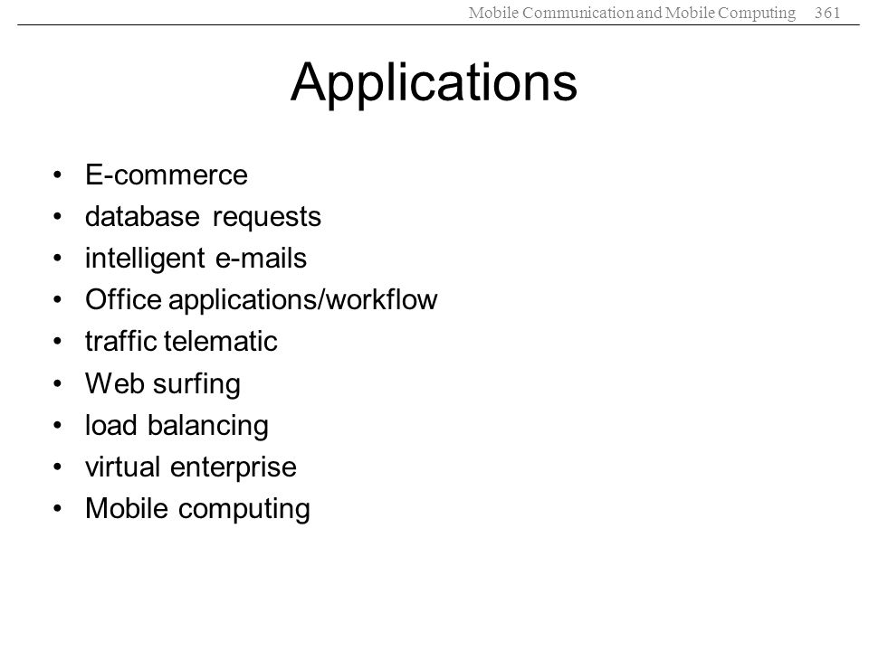 Applications E-commerce database requests intelligent e-mails