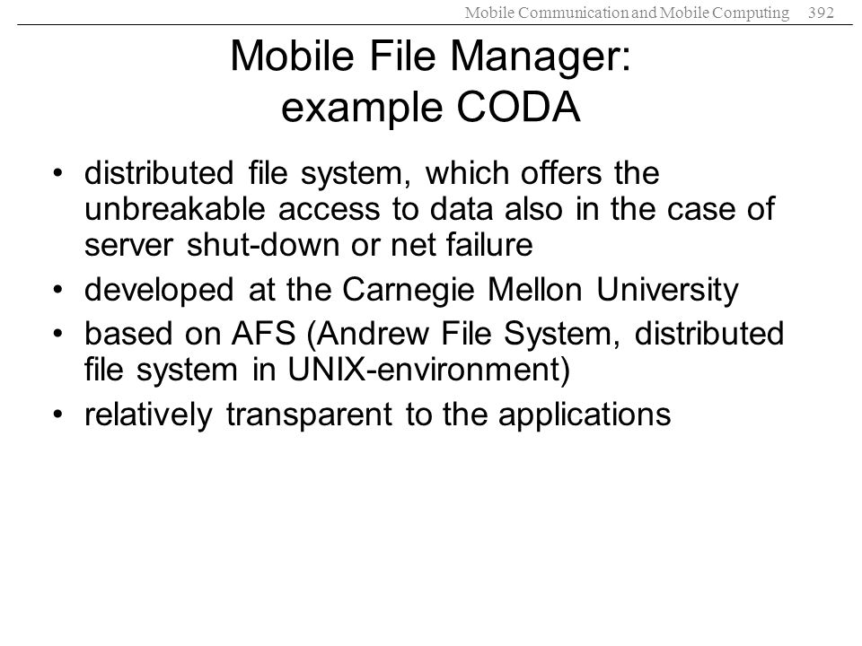 Mobile File Manager: example CODA