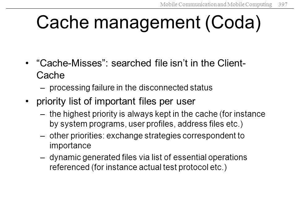 Cache management (Coda)