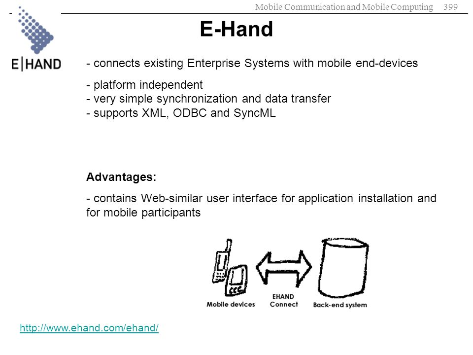 E-Hand connects existing Enterprise Systems with mobile end-devices