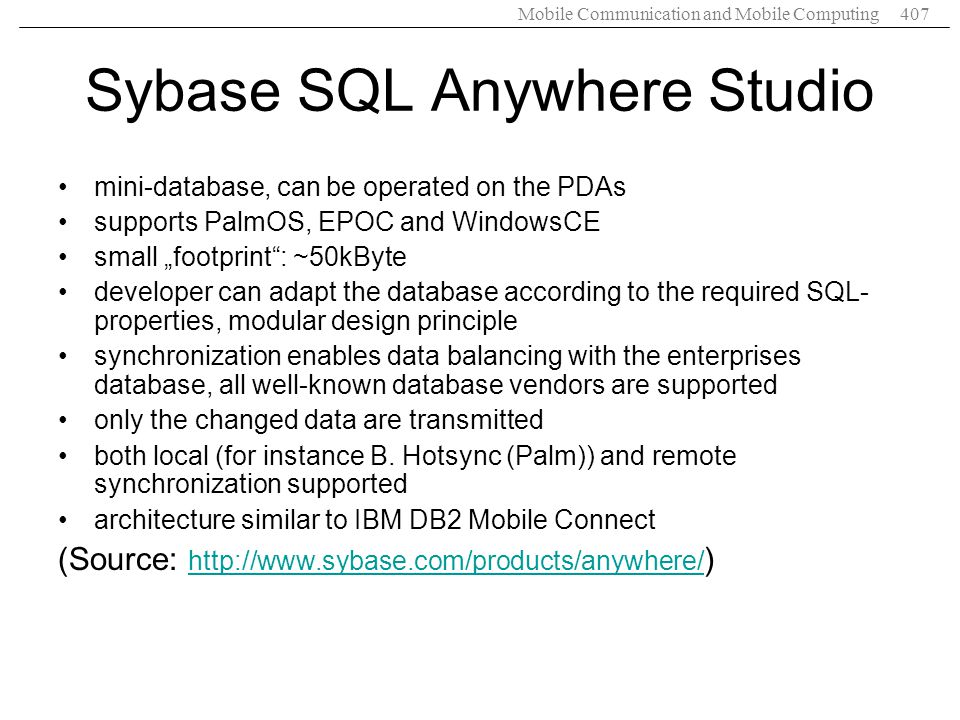 Sybase SQL Anywhere Studio
