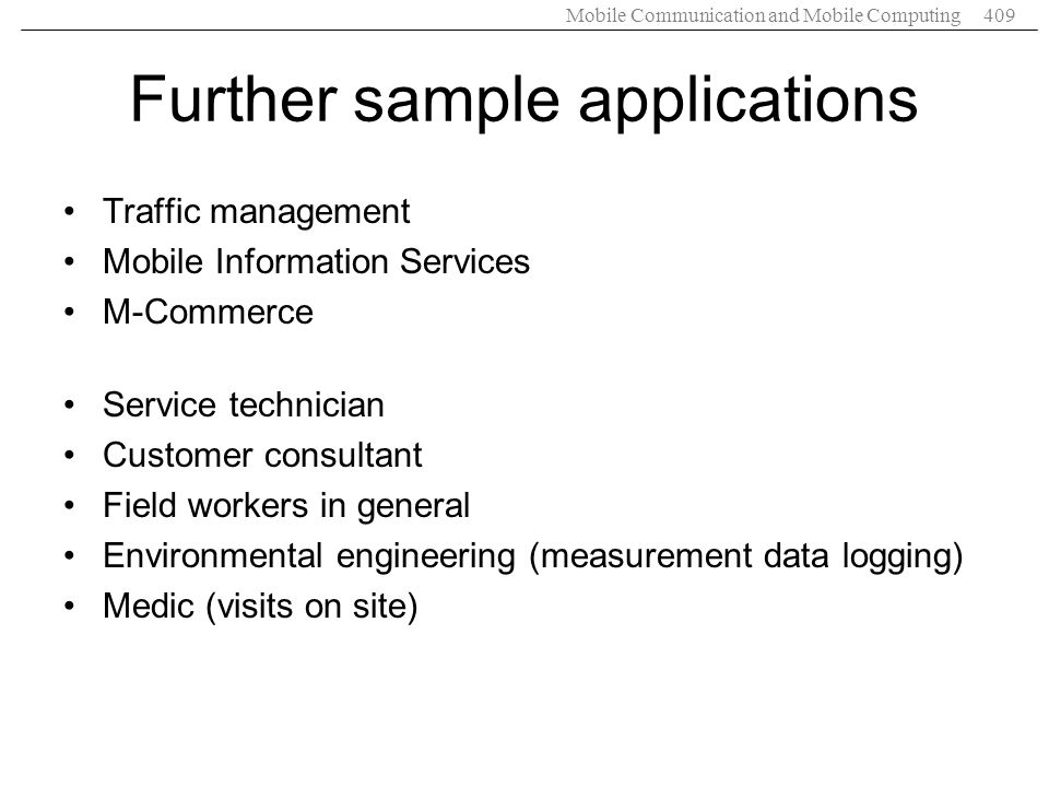 Further sample applications