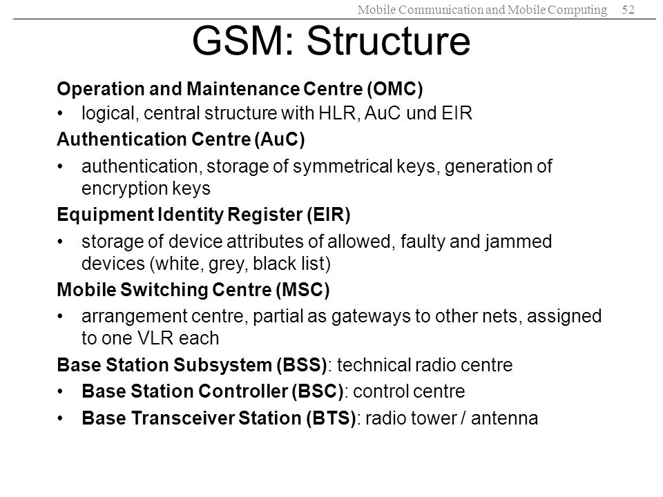 GSM: Structure Operation and Maintenance Centre (OMC)