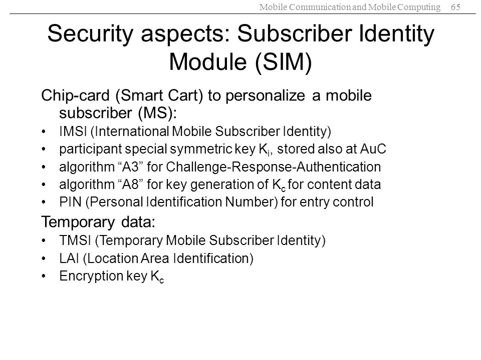 Security aspects: Subscriber Identity Module (SIM)