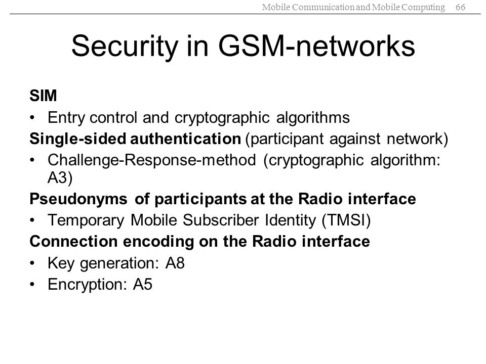 Security in GSM-networks