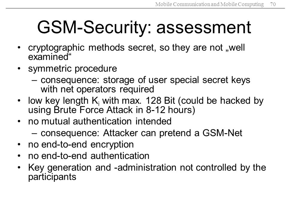 GSM-Security: assessment