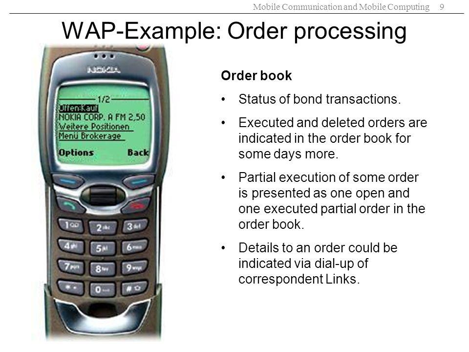 WAP-Example: Order processing