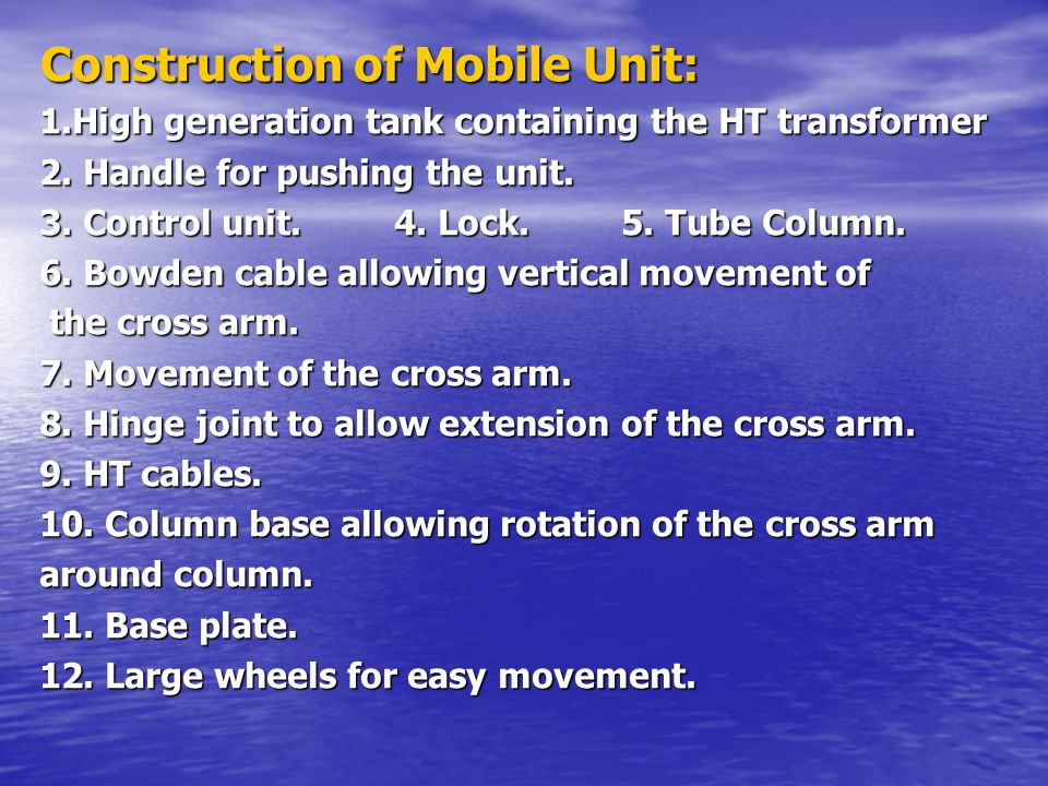Construction of Mobile Unit: