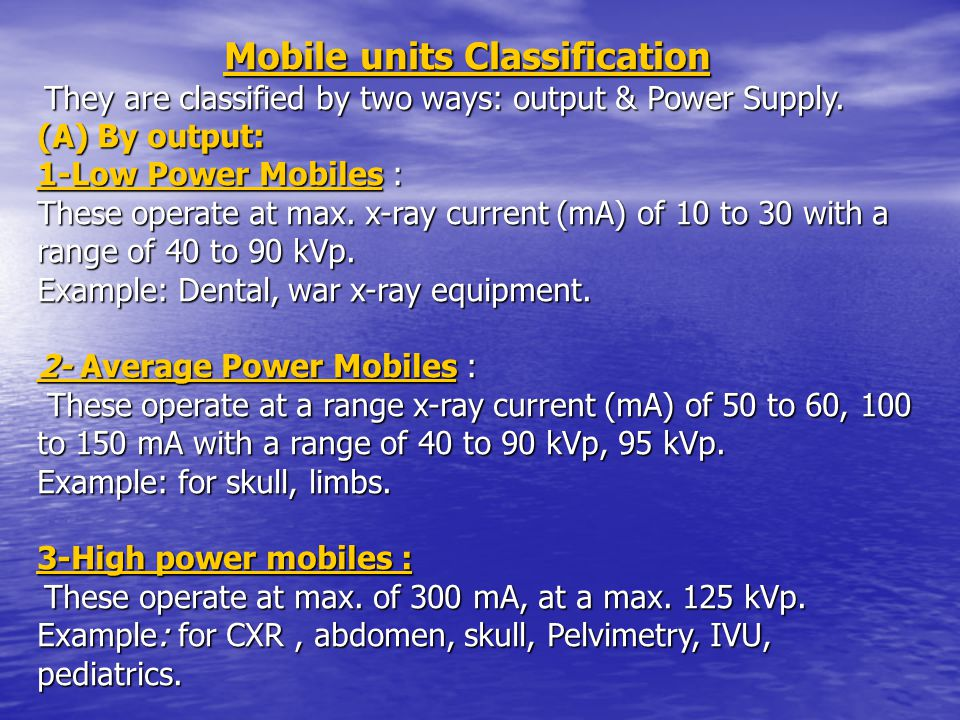 Mobile units Classification
