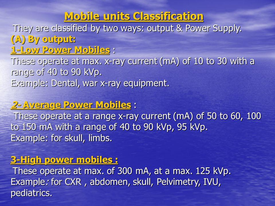 Mobile units Classification