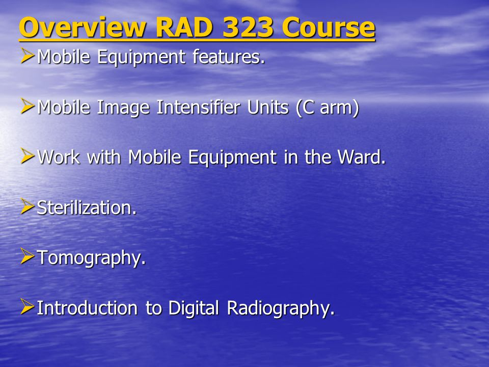 Overview RAD 323 Course Mobile Equipment features.