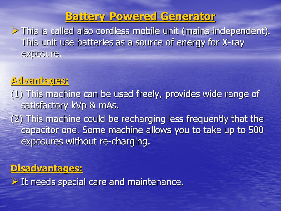 Battery Powered Generator