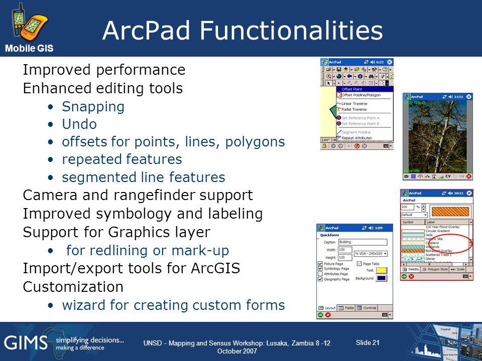ArcPad Functionalities