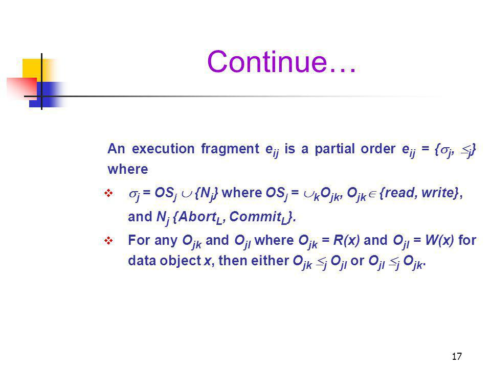 Continue… An execution fragment eij is a partial order eij = {j, j} where. j = OSj  {Nj} where OSj = kOjk, Ojk {read, write},