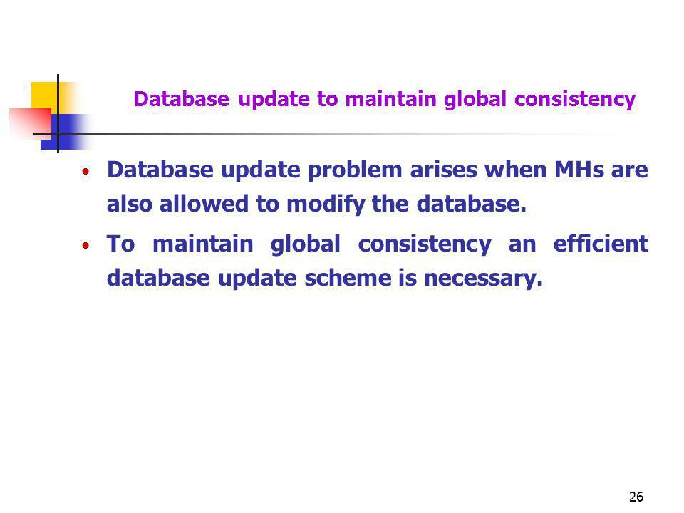Database update to maintain global consistency