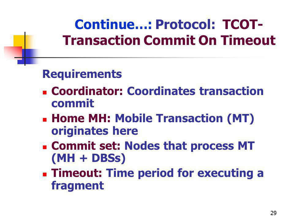 Continue…: Protocol: TCOT-Transaction Commit On Timeout