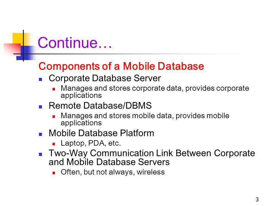 Continue… Components of a Mobile Database Corporate Database Server